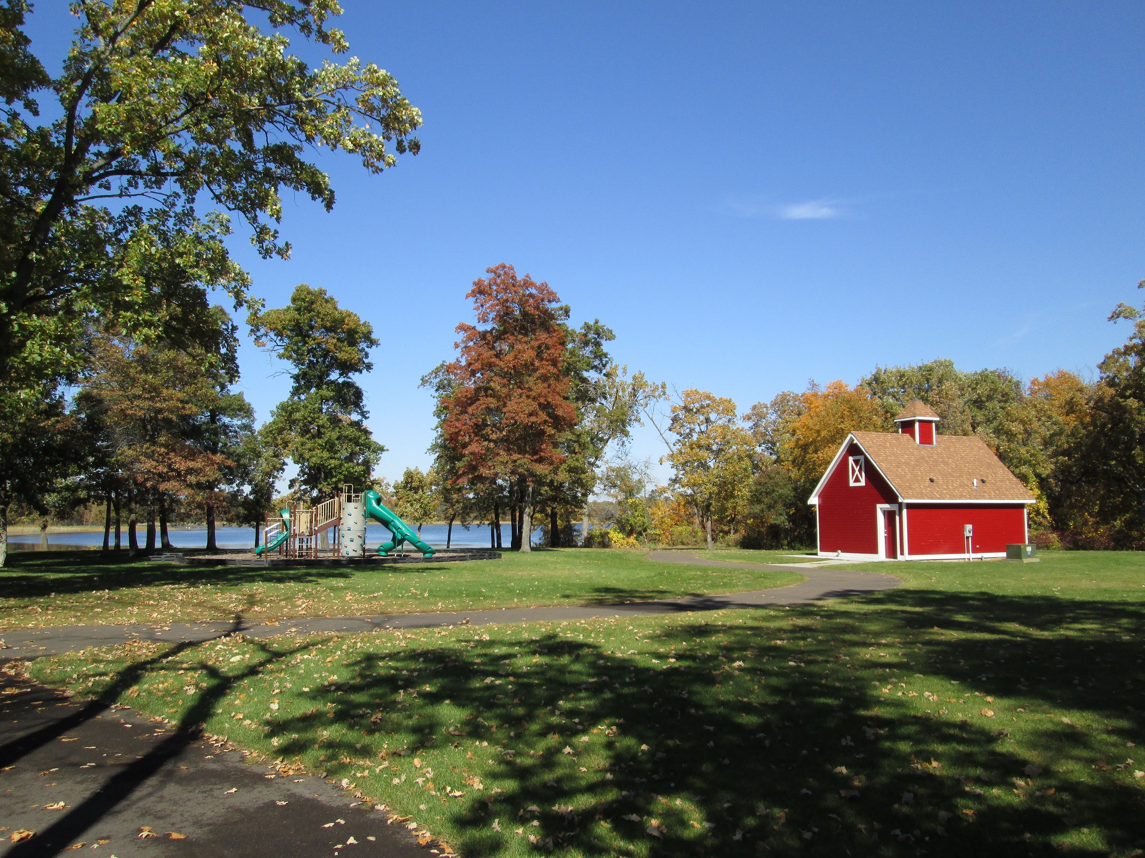 Park with a barn background