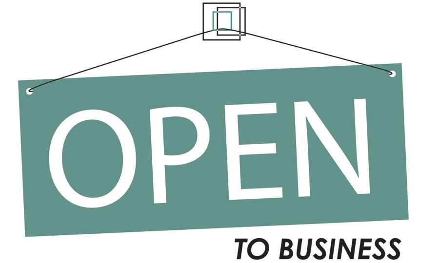Open to Business sign